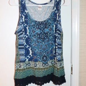 SZ L TANK LACE BEADED SEQUINS BY BILA